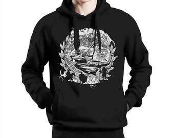 """The Old Norse 1 - Viking Hoodie """"He welcomes the night"""" - hand drawn and unique"""