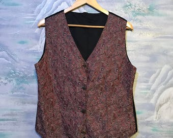 Red Floral Tapestry Waistcoat Womens Vest Formal Romantic Cottage Chic Elegant Waistcoat Medium Size