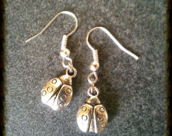 Spring Ladybug silver plated earrings