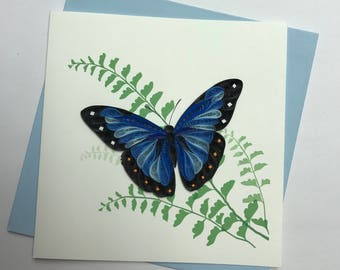 Blue Butterfly Quilling Greeting Card