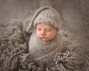 Knit sleep hat, newborn sleeper cap, knit cap, knit hat, newborn photo prop, knit photography prop, sleeper hat prop, long tail sleep cap