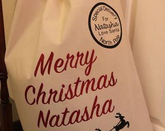Personalised santa sack, personalised christmas sack, Christmas Eve sack, personalised stocking