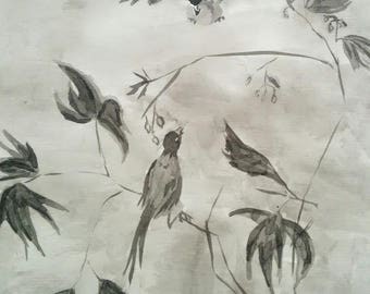 "Drawing in ink wash ""2 birds"""