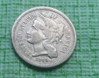 1866 three cent US coin #417
