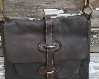 Dark Brown Soft Italian Leather Messenger Cross Body Bag! NEW!!!