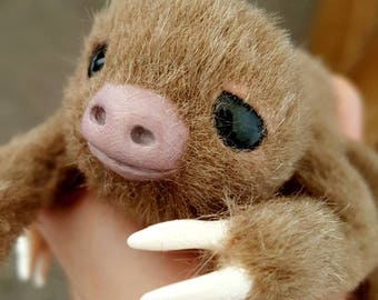 MADE TO ORDER Mini Two-Toed Sloth Poseable Art Doll Realistic Stuffed Animal Sculpture Animal Doll Poseable Sloth Plush