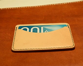Natural Kangaroo Leather Card Wallet, Slim Card Wallet, Leather Card Wallet, Personalised
