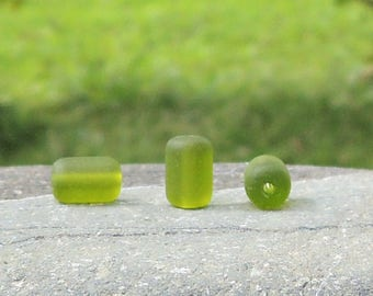 Cultured sea glass barrel nugget beads olive, 10x6 mm, 22 pcs