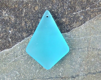 Cultured Sea Glass diamond pendant turquoise bay,  37x27mm