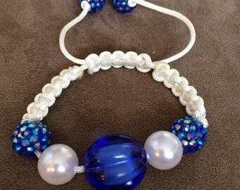 Blue Sparkle Macrame Bracelet