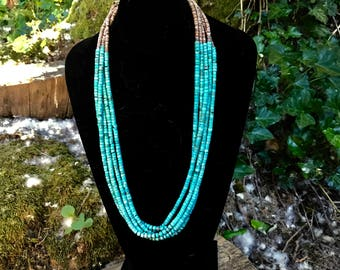 5 Strand Turquoise and Shell Heishi Necklace