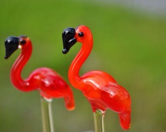Glass flamingo figurine animals glass flamingo glass miniature art glass flamingo bird figurine bird figure glass sculpture murano