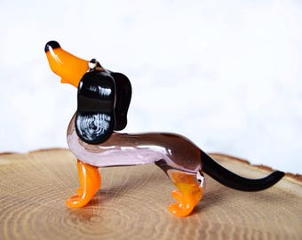 Glass dog ornaments, glass dog badger, glass dog craft, glass dog figurine, glass dog statue, glass dog trophy, toys New Years 2018