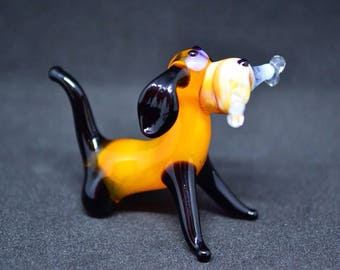 Tiny glass dog figurine animals glass dog miniature art glass dogs toy murano animals tiny small figure glass puppy dog sculpture