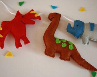 dinosaur garland, dinosaur bunting, boys garland, dinosaur decor, dinosaur felt, boys wall decor, new baby gift, boys baby shower,