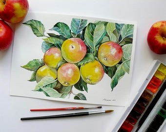 Apples on tree, Fruit watercolor, Apple painting, Original watercolor painting, Kitchen wall art, Fruit painting