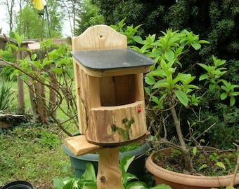Birdhouse open wood, Original, rustic, Bird House cute Wren, Robin, cabin, Deco gardens