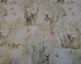 Voyage - Sherwood Forest - Linen  Designer Curtain Fabric Sold by the meter or A4 Samples. From the Country Decoration Collection.
