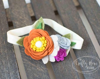 Baby Headband-Felt Flower Headband Burnt Orange, Turquoise, Purple - Baby Girl Headband-Headband-Baby Headband-Newborn Headband