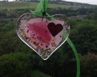 Heart. Fused glass heart for your window or your wall. Suncatcher. Glass heart.