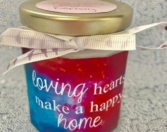 Loving Hearts Make A Happy Home Soy/Vegan Raspberry Candle