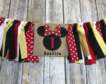 Minnie Mouse Birthday Banner, Minnie Mouse First Birthday, High Chair Birthday Banner, First Birthday Banner, Minnie Mouse High Chair Banner