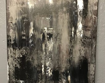 Black and white painting, original painting, abstract painting