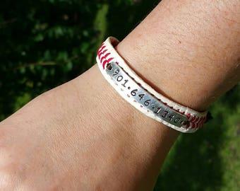 Baseball Bracelet, kids id bracelet, kids baseball bracelet,  Stamped Baseball Bracelet, Phone Number, Custom Baseball Bracelet