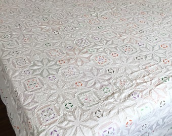 White bed cover, handmade applique king size bed sheet, Indian bedding, wedding bedding, bed linen, bed throw