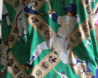 Vintage 1980s MLB Baseball Curtains Boys Bedroom Decor Players Major League