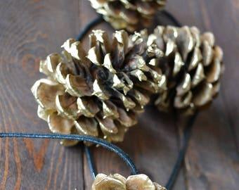Gold Pine Cone Rustic Garland/Handmade/Natural PineCone Garland/PineCone Ornaments/Gold PineCones/Rustic Wedding Garland/Fireplace Decor