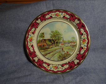 Vintage metal plate with colorful scenic view