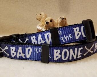 Bad to the Bone Handmade Dog Collar 1 Inch Wide Large & Medium