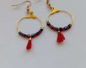 Earrings with red tassel