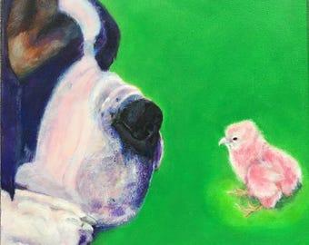 THE NEW GIRL. st. bernard baby chick, chicken print dog pink art fun colorful affordable baby kids nursery girlpower tween teen rescue