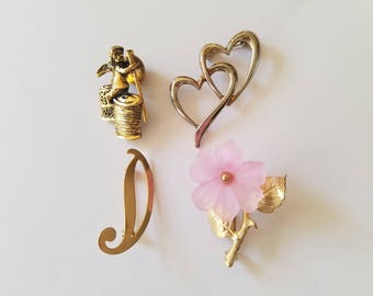 Pretty and Elegant! Retro Whimsical Pins/Brooches - Signed Angel/Cherub Pin - Pink Flower Pin-Double Heart Pin - Gold Tone Letter D Initial