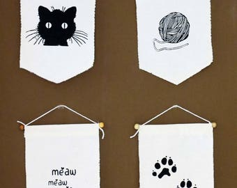 4(four) Cute Cat Wall Art,  Cat Wall Furniture,  Cat Wall Decor.