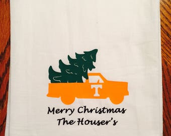 Flour sack kitchen towel, southern kitchen towel, Christmas, Merry Christmas, Personalized