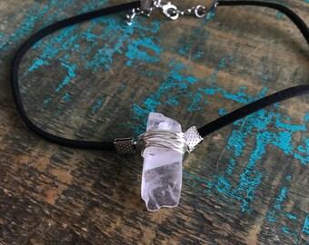 Handmade rose quartz choker   rose quartz   gemstone necklace