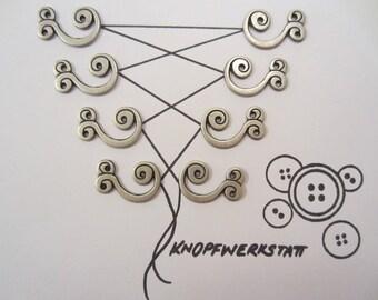 8 Metal Bodice hooks (4 pairs), Dirndelösen, bodice hook, Schnüröse, costume buttons, metal button, Middle Ages, Oktoberfest, Bavarian, Dirndl