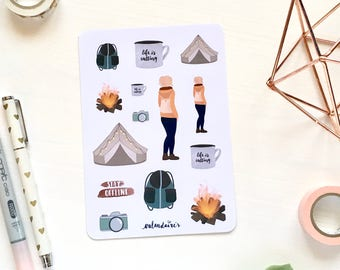 Camping & hiking stickers sheet