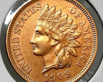 1909 Indian Head Cent - AU / BU - 3 1/2 Diamonds