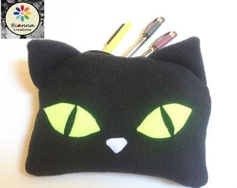 """9x6"""""""" Kawaii Black Cat Face Pouch, Japanese Anime Lover Animal Pen Pencil Storage, Kitten MakeUp Cosmetic Bag, 3DS Kitty Travel Buddy Case"""