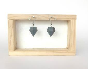 Geometric Concrete Diamond Shaped Dangle and Drop Earrings