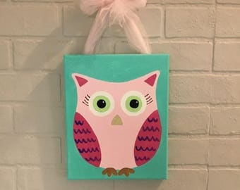 Pink Owl hand painted 8x10 canvas