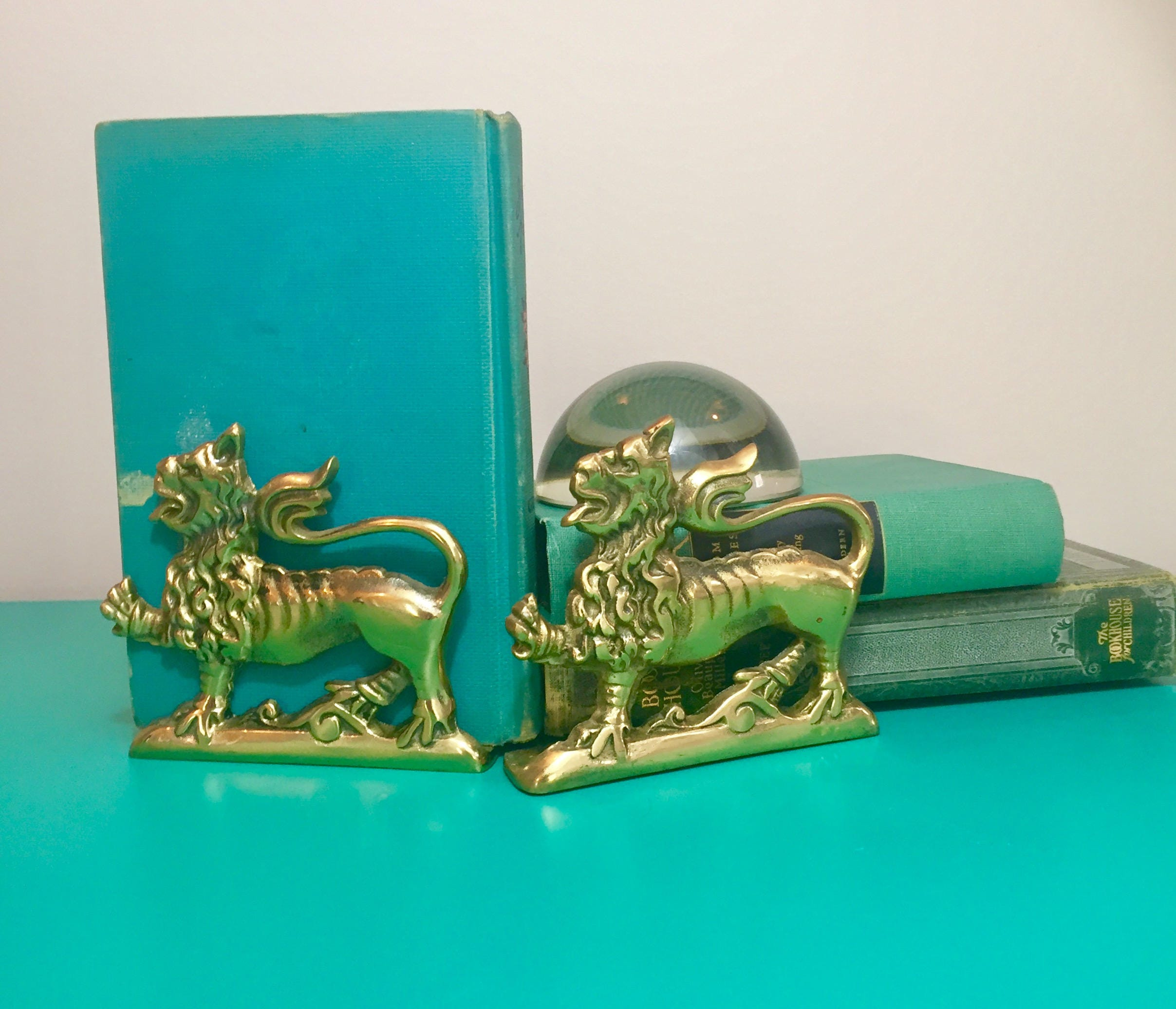 Vintage Brass Lion Bookends Brass Bookends Vintage Bookends