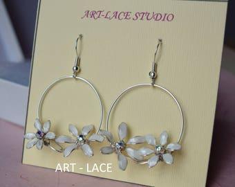 Jasmine flower earrings for women Flower Basket Dangle earrings Jasmine Jewelry set Flowers in circle Bridal White Ivory earring Chandelier