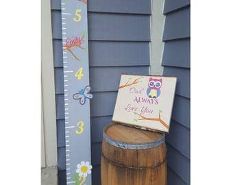 Growth Chart, Pink Owl Wooden Growth Chart, Oversized Ruler, Kid's Decor, Baby Shower Gift