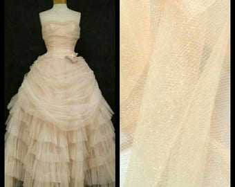 Custom Made 1950's Peach Strapless Layered Tea Length Vintage Tulle Wedding Dress Evening Prom Dress