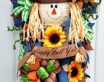 Fall Scarecrow Swag, Fall Wreath, Front Door Decor, Fall Door Decoration, Fall Wall Decor, Fall swag, Scarecrow Door Decoration, Autumn Swag